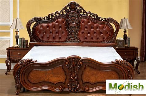 classic king size wood carving bed  leather headboard