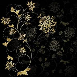 Flower wiht gold leaveson the black background Stock