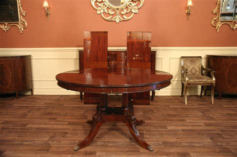 54 Round to Oval Mahogany Dining Table with Leaves eBay