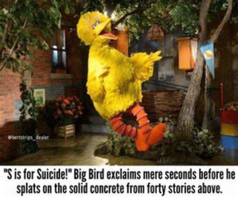 Big Bird Memes - gbertstrips dealer sisfor suicide big bird exclaims mere seconds before he splats on the solid