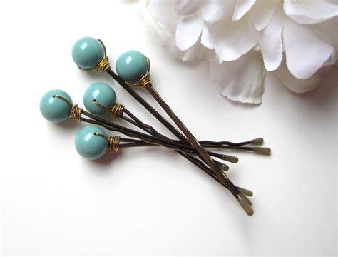 bobby hair pin set jade green bobby pins wedding hair pin set