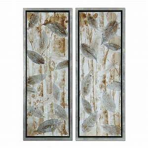 Uttermost 41412 pressed leaves framed art set of 2 atg for Wall art sets