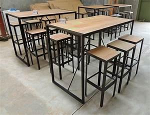 Table Haute Industrielle : afficher l 39 image d 39 origine table haute metal bois ~ Melissatoandfro.com Idées de Décoration