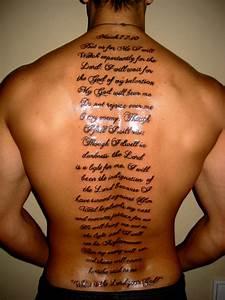 English scripts tattoo on full back for men. | Tats ...