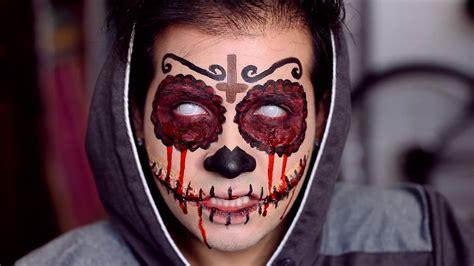 halloween bloody sugar skull makeup tutorial  de los