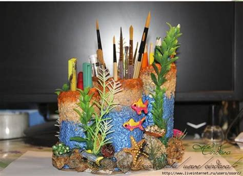 colorful coral office organizer
