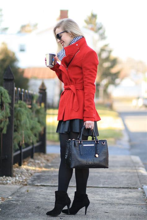 poinsettia red wrap coat houndstooth scarf leather