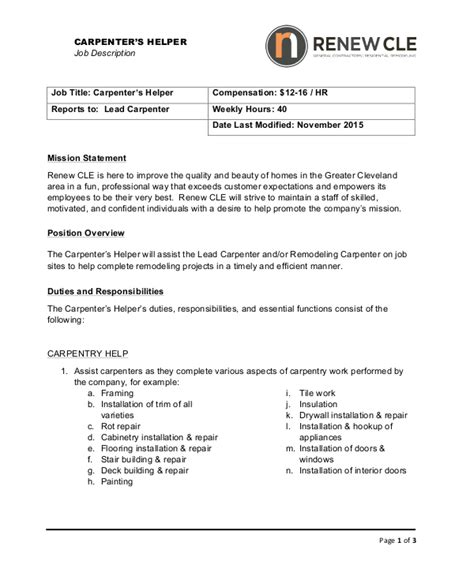 10+ Carpenter Job Description Templates  Pdf, Doc  Free. Experience Resume Examples. Testing Resume For 1 Year Experience. Photographer Job Description Resume. Furniture Store Manager Resume. Hr Executive Sample Resume. Free Resume On Line. Resume Ece. Resume Tmplate
