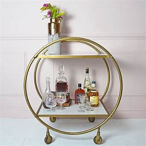 Round Brass and Marble Art Deco Drinks Trolley Audenza