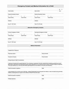 child emergency contact and medical information template With emergency contact form template for child