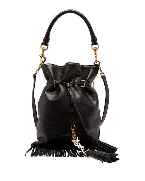 lyst saint laurent monogram small fringe bucket bag  black