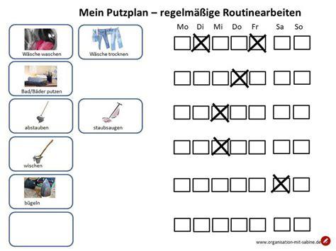 Wohnung Putzen Plan by Putzplan Routinearbeiten Einfache Organisation Rezepte