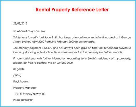 rental reference letter  sample letters formats