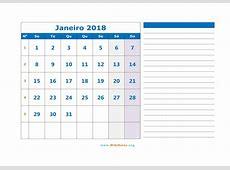 Calendário 2018 WikiDatesorg