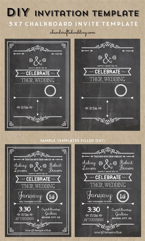 check   printable diy chalkboard wedding invitation