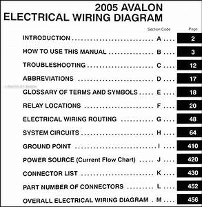 2005 Toyota Avalon Wiring Diagram Manual Original