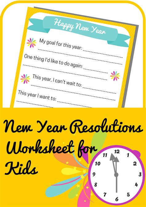 New Year Resolutions Worksheet For Kids  Free Printable