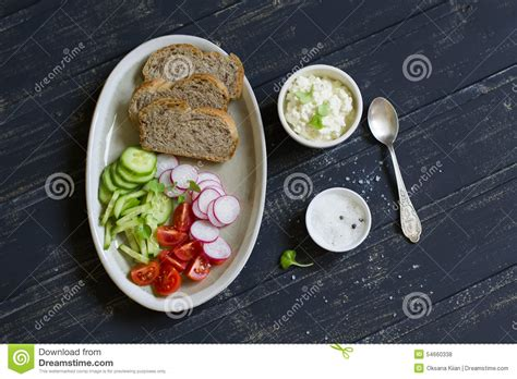 Toast With Cottage Cheese Radish Cucumber And Tomatoes
