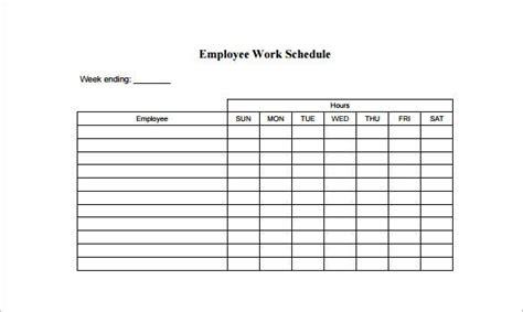 employee schedule templates  word excel