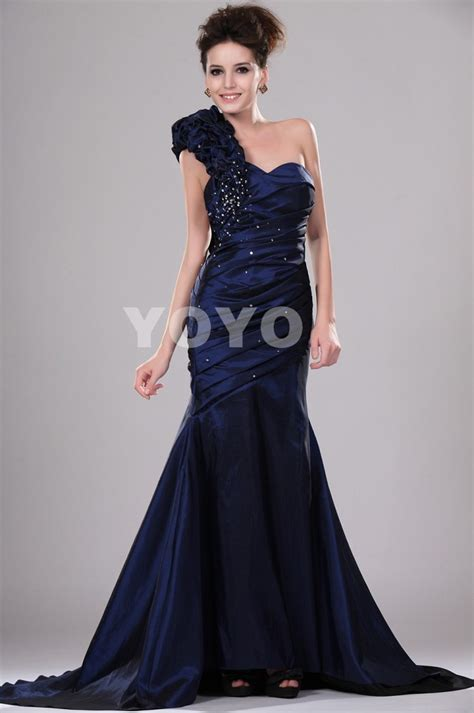 chic navy blue mermaid sweetheart one shoulder beading pleated robe de soiree modern