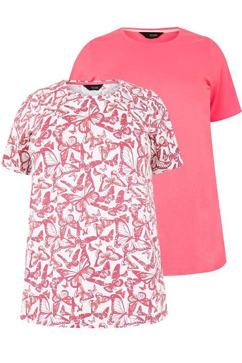 2er Pack Rosa Tshirts, Schmetterlingsprint & Einfarbig