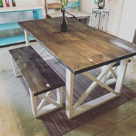 rustic farmhouse table  benches  dark walnut top