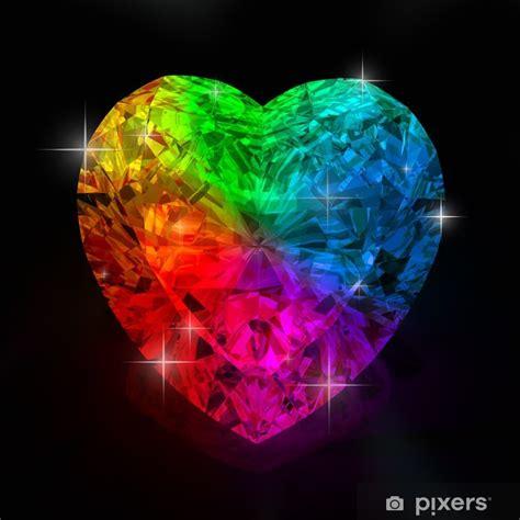 rainbow heart shape diamond wall mural pixers