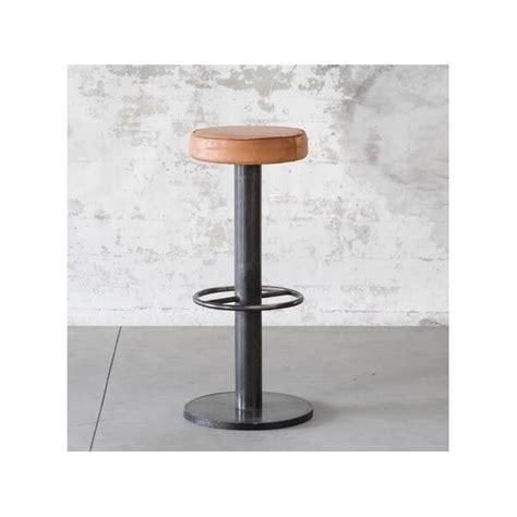 tabouret bar en acier assise cuir