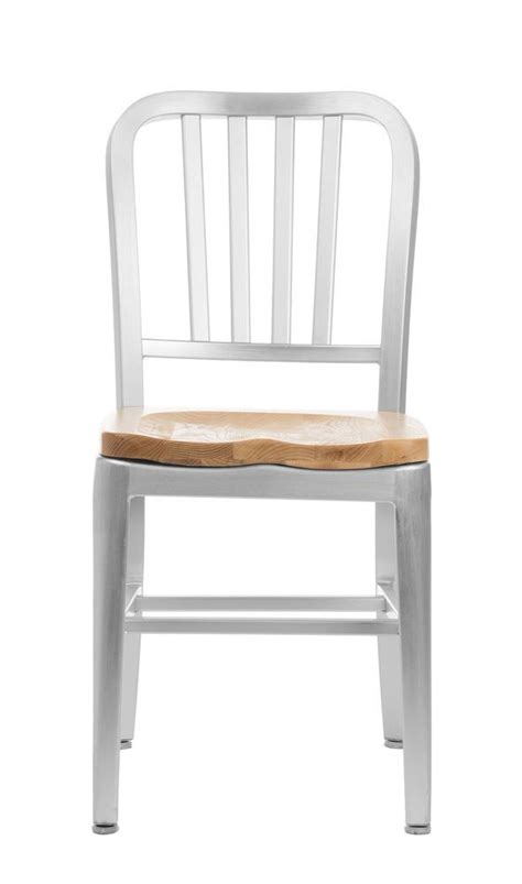 brushed aluminum dining chairs restaurant wood seat