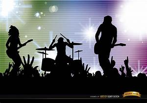 Rock band crowd concert silhouettes background - Vector ...