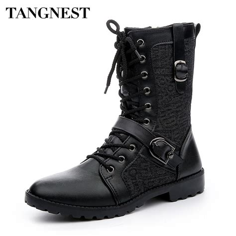 laced motorcycle boots tangnest autumn punk martin boots men fashion pu leather