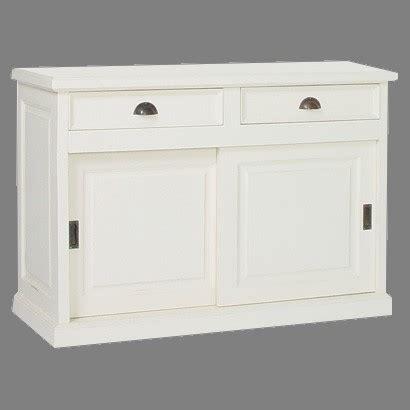 meuble bas de cuisine blanc buffet 2 portes coulissantes en bois massif