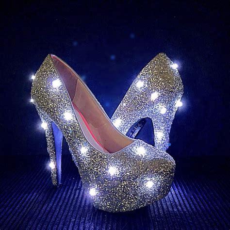 light up heels led glitter high heels silver light up edm edc festival