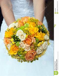 Wedding Bouquet With Yellow And Orange Roses Stock Image ...