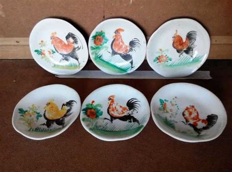 vintage  piece hand painted rooster plate  sale  singapore  adpostcom classifieds