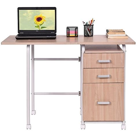 Desk On Wheels With Drawers by Folding Computer Laptop Notebook Desk With 3 Drawers
