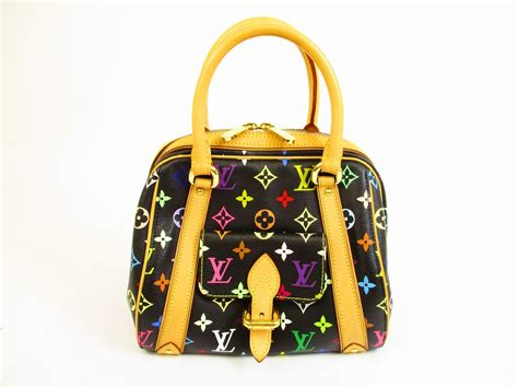 louis vuitton multi color leather black hand bag purse priscilla  authentic brand shop