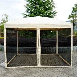 Outsunny Easy Pop Up Canopy Tent with Mesh Side Walls, 10-Feet x 10-Feet, Tan