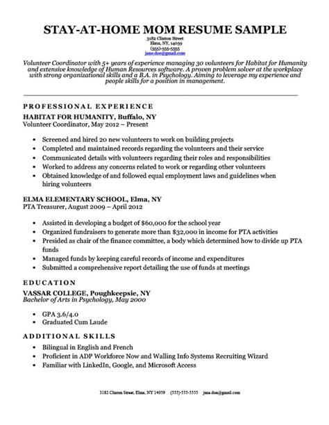 stay  home mom resume sample writing tips resume