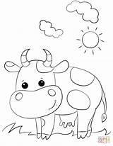 Cow Coloring Pages Cute Cartoon Printable Cows Worksheets Preschool Longhorn Crafts Cattle Cartoons Colorear Para Alphabet Printables Getdrawings Drawing Template sketch template