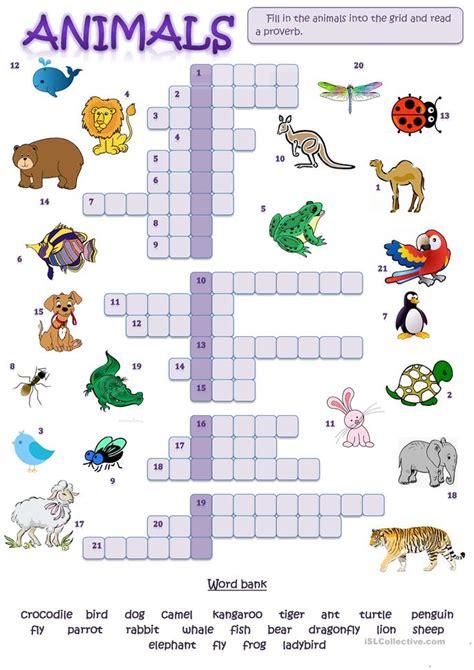 animal picture crossword worksheet  esl printable