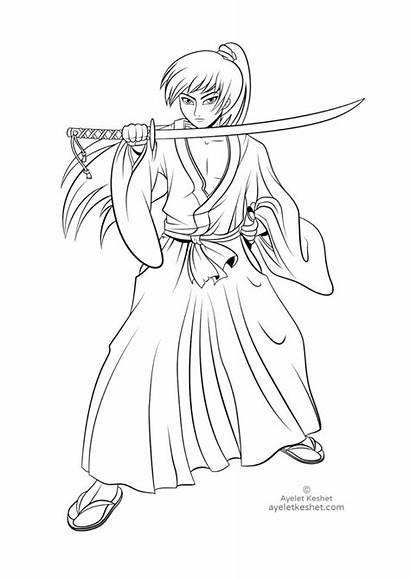 Coloring Samurai Pages Japan Printable Keshet Ayelet