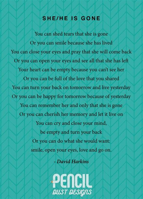you can shed tears that she is david harkins she he is a collection of non religious funeral