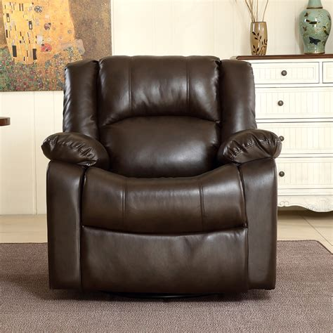 New Recliner And Rocking Swivel Chair Leather Seat Living