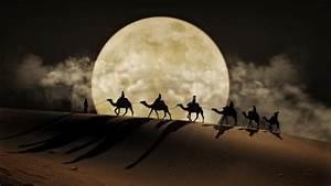 Desert, Moon, Camel, Art, Desktop, Wallpaper, Hd, For, Mobile, Phones, And, Laptops, Wallpapers13, Com