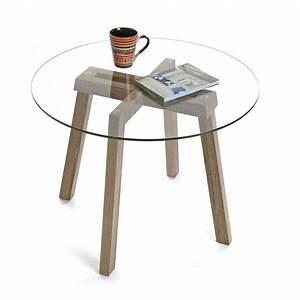 Table Basse Verre Bois : table basse pied en bois plateau en verre yesdeko com ~ Teatrodelosmanantiales.com Idées de Décoration