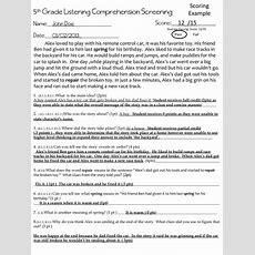 Listening Comprehension Screenings Grades 68  The Speech Bubble