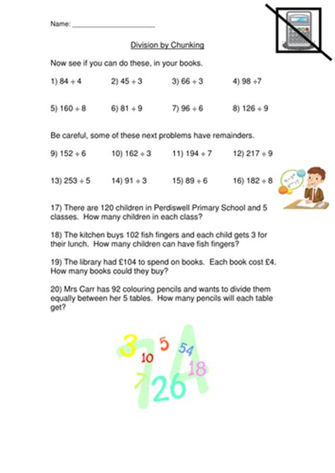 division chunking method worksheet  mad teaching