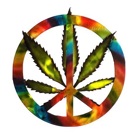 Cannabis Leaf Tie-Dye Metal Peace Sign - Cannabis Art Shop