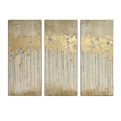 madison park sandy forest gel coat canvas with gold foil embellishment wall art in taupe set of